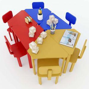 Module Bàn ghế mầm non lục giác cụm 6 gỗ cao su KGD004