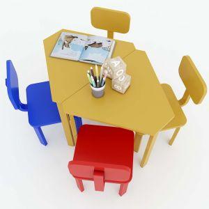 Module Bàn ghế mầm non hình thang cụm 2 gỗ cao su KGD002