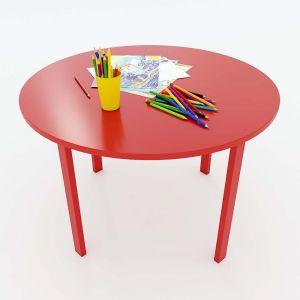 Bàn mầm non mặt bàn tròn gỗ cao su 80x80x53cm KGD012