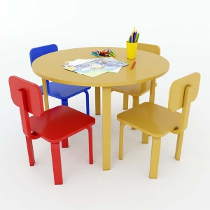 Bộ Bàn Ghế Mầm Non 1 bàn tròn và 4 ghế gỗ cao su KGD013