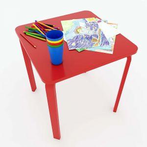 Bàn mầm non mặt bàn vuông gỗ cao su màu đỏ KGD007