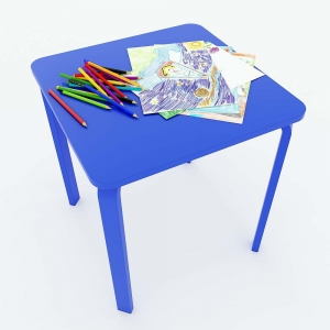Bàn mầm non mặt bàn vuông gỗ cao su màu xanh KGD008