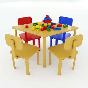 Bộ Bàn Ghế Mầm Non 1 bàn và 4 ghế gỗ cao su KGD010