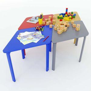 Module bàn mầm non hình thoi cụm 4 gỗ cao su KGD011