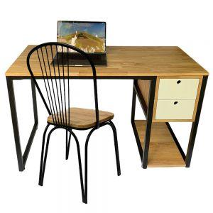 Combo bàn làm việc có hộc và ghế mặt gỗ lưng sắt CB68091