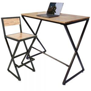 Combo bàn làm việc đứng và ghế ngồi bàn cao chân chữ X CB68087