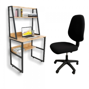 Combo bàn làm việc mini kết hợp kệ và ghế chân xoay CB68090