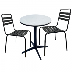 Bộ bàn cafe mặt đá và 2 ghế sắt sơn tĩnh điện CBCF042
