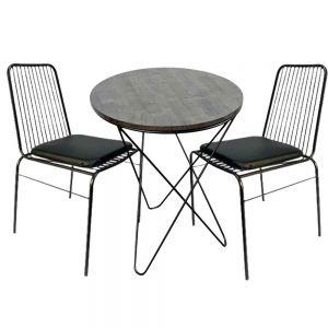 Bộ Bàn Cafe Tròn 60cm Và 2 Ghế Lưng Sắt CBCF051