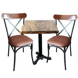 Bộ Bàn Cafe Gỗ Me Tây Và 2 Ghế Nệm Nâu Tựa Lưng Cong CBCF052