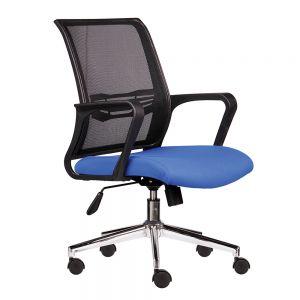 Ghế xoay văn phòng lưng lưới nệm xanh HOM1016-01