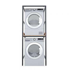 Kệ để máy giặt và máy sấy gỗ cao su khung sắt 77x62x200cm KMG68010