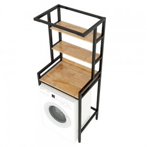 Kệ máy giặt 3 tầng gỗ cao su khung sắt lắp ráp 72x56x188cm KMG68012