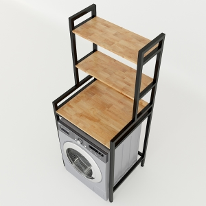 Kệ máy giặt 3 tầng gỗ cao su khung sắt lắp ráp 72x60x180cm KMG68014