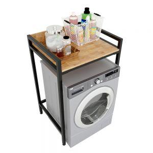 Kệ máy giặt đơn giản gỗ cao su khung sắt lắp ráp 72x60x112cm KMG68015