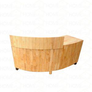 BLT68002 - Quầy lễ tân uốn cong đơn giản bằng gỗ