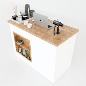 Bàn quầy lễ tân đơn giản 2 ngăn kéo gỗ cao su 120x60x86cm BLT68010