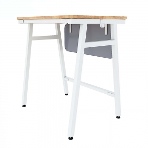 Bàn học đơn Azura 01 gỗ cao su chân sắt lắp ráp PSD012