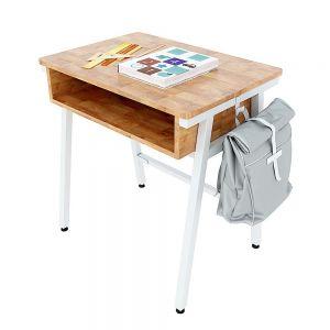 Bàn học đơn có hộc Azura 02 gỗ cao su chân sắt lắp ráp PSD013