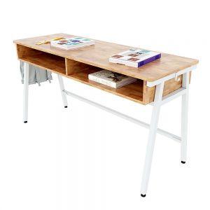 Bàn học đôi có hộc Azura 04 gỗ cao su chân sắt lắp ráp PSD014
