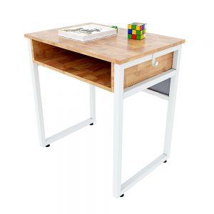 Bàn học đơn có hộc NEMO 02 gỗ cao su chân sắt lắp ráp PSD017