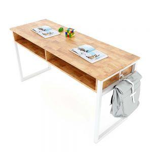 Bàn học đôi có hộc NEMO 04 gỗ cao su chân sắt lắp ráp PSD019