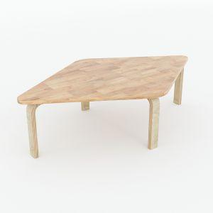 Bàn mầm non ngồi bệt mặt bàn hình thoi 94x57x28cm gỗ cao su nhiều màu KGD019