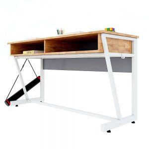 Bàn học đôi có hộc VICTOR 04 gỗ cao su chân sắt sơn tĩnh điện PSD011