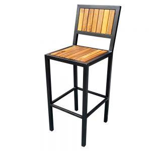 Ghế bar ngoài trời gỗ tràm khung sắt sơn tĩnh điện GBAK003