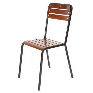 Ghế ngoài trời xếp chồng nan mặt ngồi và lưng tựa bằng gỗ GCF080