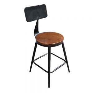 Ghế cafe, ghế ăn có lưng tựa mặt gỗ màu nâu GCF082
