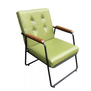 Ghế sofa đơn, ghế cafe tay viền gỗ nệm màu xanh lá GSD68027