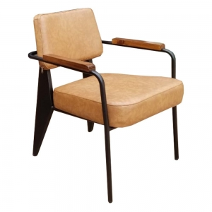 Ghế sofa đơn Napa nệm nâu tay viền gỗ sang trọng GSD68028