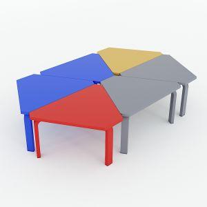 Module Bàn cụm 6 hình thang mini ngồi bệt KGD016