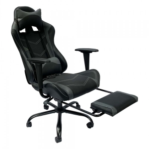 Ghế chơi game 7188 ngả lưng có gác chân đen xám GC68017
