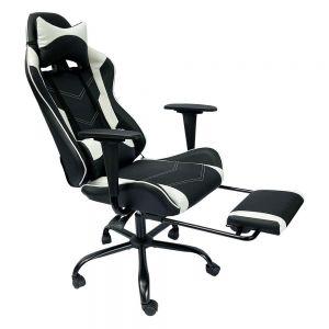 Ghế chơi game 7188 ngả lưng có gác chân đen trắng GC68019