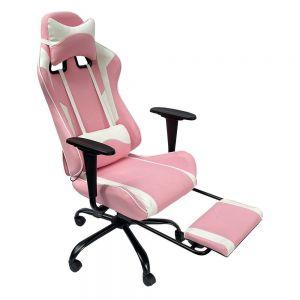 Ghế chơi game màu hồng 7188 ngả lưng có gác chân GC68020