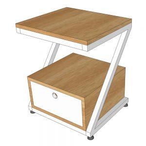 Tủ đầu giường 1 ngăn kéo 40x35x45cm gỗ cao su khung sắt TDG68035