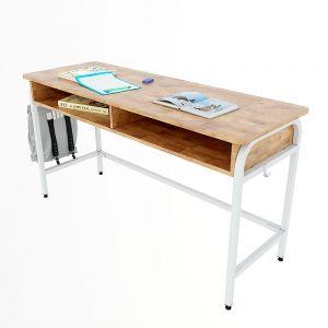 Bàn học đôi có hộc UNI 04 gỗ cao su chân sắt lắp ráp PSD022