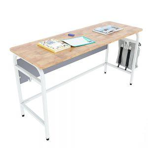 Bàn học đôi UNI 03 gỗ cao su chân sắt sơn tĩnh điện PSD021