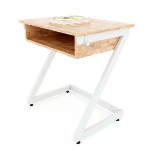 Bàn học đơn có hộc Zeus 02 gỗ cao su chân sắt lắp ráp PSD024