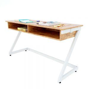 Bàn học đôi có hộc Zeus 04 gỗ cao su chân sắt lắp ráp PSD026