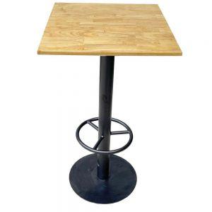 Bàn bar mặt vuông 60cm gỗ cao su chân sắt đế tròn BB006