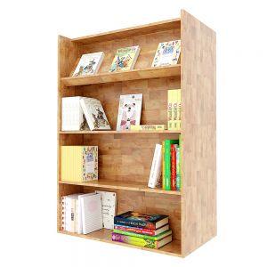 Kệ sách 2 mặt di động gỗ cao su màu tự nhiên BSS001