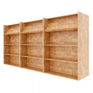 Hệ kệ sách 2 mặt dài 3m gỗ cao su màu tự nhiên BSS002