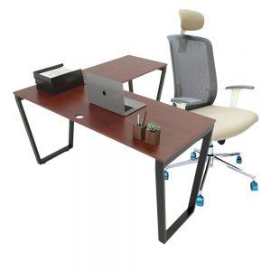 Combo Bàn làm việc chữ L và ghế cao cấp có tựa đầu CB68119
