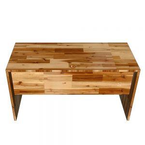 Bàn làm việc có tấm chắn 140x60cm gỗ tràm dày 25mm hệ Wooden HBWD030
