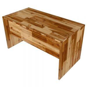 Bàn làm việc có tấm chắn 140x70cm gỗ tràm dày 25mm hệ Wooden HBWD031