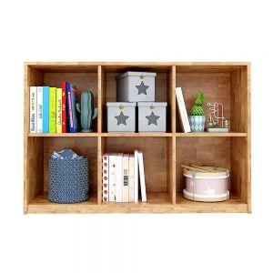 Kệ sách, kệ để đồ 6 ngăn gỗ cao su màu tự nhiên KGS019
