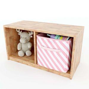 Tủ mầm non 2 ngăn đơn giản gỗ cao su màu tự nhiên KGS001